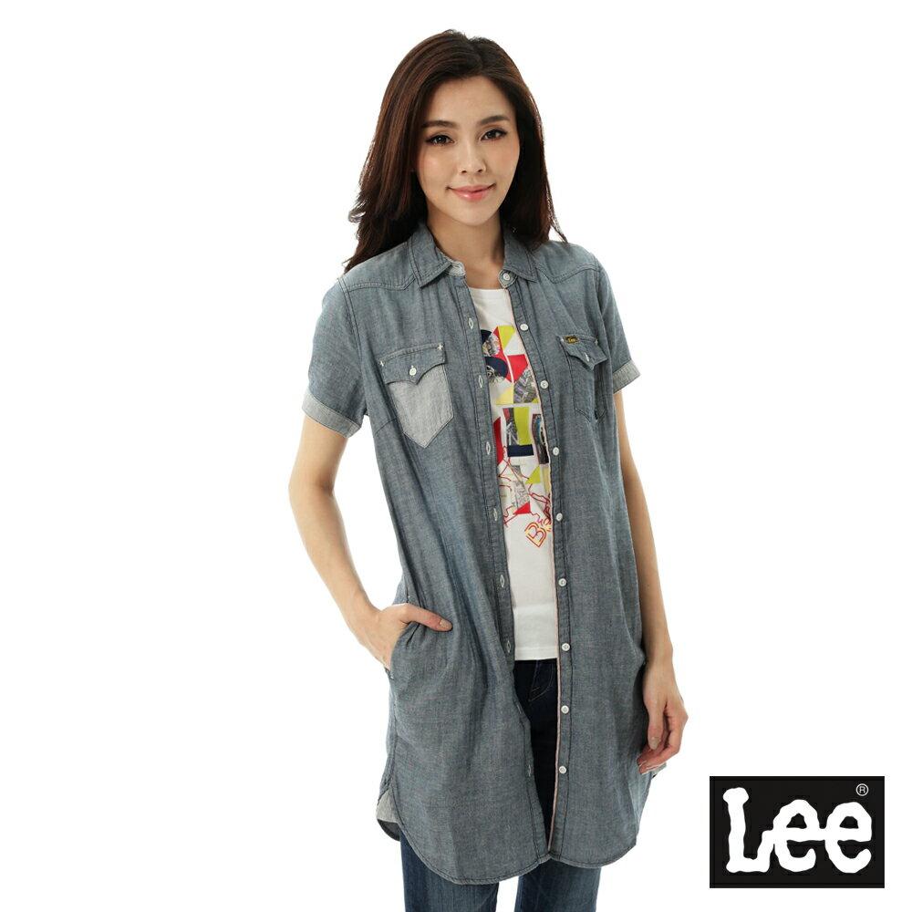 Lee Jeans tw Lee 牛仔短袖長板襯衫/ 洋裝101+-女-藍