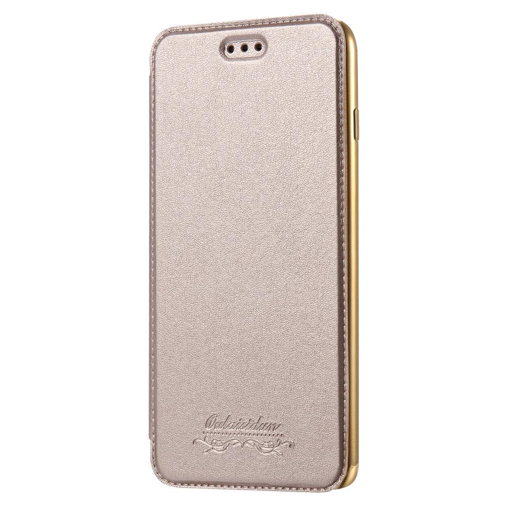 Outlet特價品Apple iPhone 7 Plus/8 Plus 共用透明電鍍邊框側掀美背皮套 手機殼/保護套 香檳金專區1 隨機出貨 $ 79