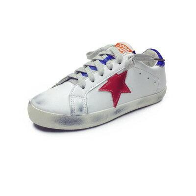 2016  復古擦色刷舊五角星星拼色繫帶休閒鞋復古女鞋白色板鞋