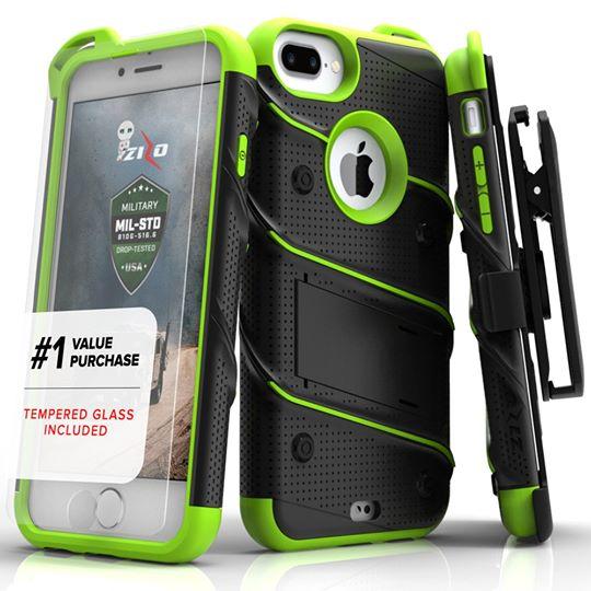 貝殼嚴選:【貝殼】ZizoBolt軍規防摔iPhone8iPhone8Plusi7i7Plus手機殼(贈非滿版玻璃貼)-黑綠