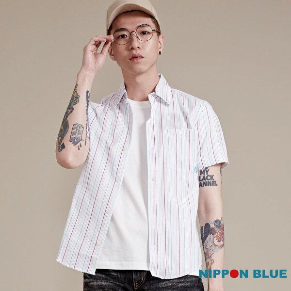 【限時5折】日本藍經典條紋短袖襯衫(紅藍條)-BLUEWAYNIPPONBLUE日本藍