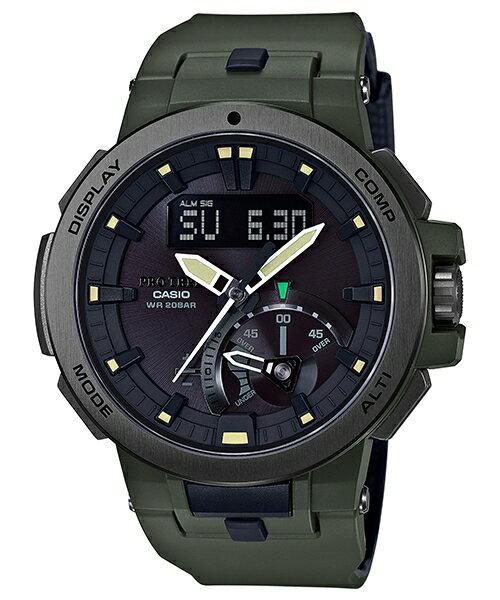 CASIO PROTREK PRW-7000-3 高階登山雙顯太陽能電波腕錶/52mm