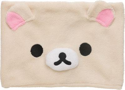 【真愛日本】16093000028保暖圍脖巾-大臉奶熊 SAN-X 懶熊 奶熊 拉拉熊 禦寒用品 圍巾 正品