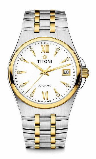 TITONI瑞士梅花錶動力系列 83730SY-271 自動機芯時尚腕錶/金銀 38mm