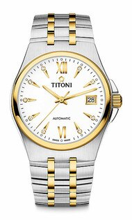 TITONI瑞士梅花錶動力系列83730SY-271自動機芯時尚腕錶金銀38mm