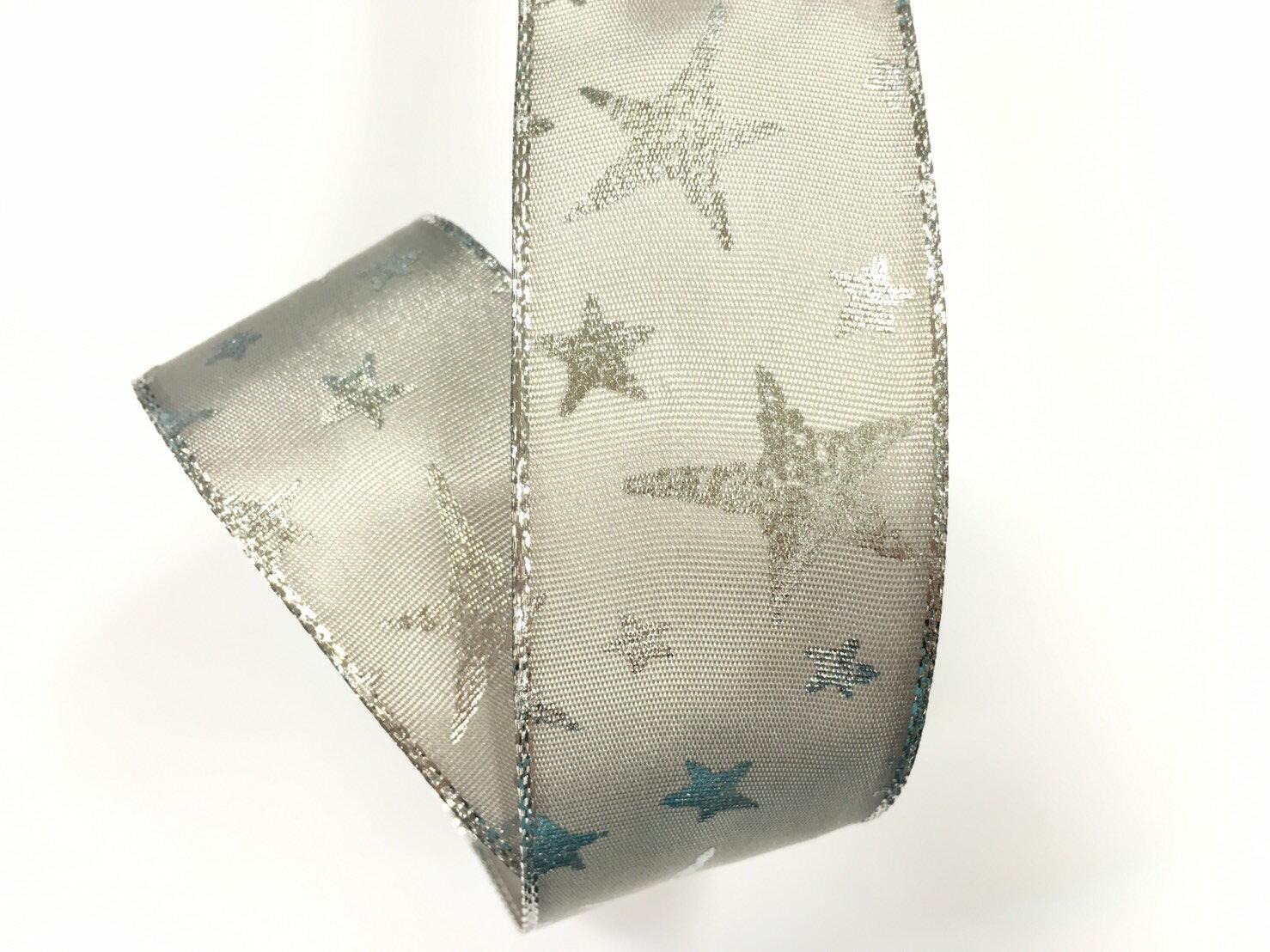 聖誕燙金銀星星+鐵絲緞帶 38mm 3碼裝 (2色) 1