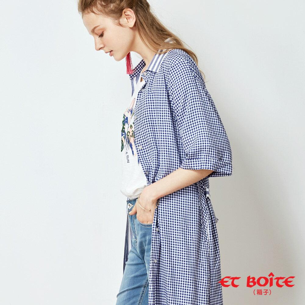 【春夏新品】寬袖開衩收腰長版罩衫(淺藍條紋) - BLUE WAY  ET BOiTE 箱子 2