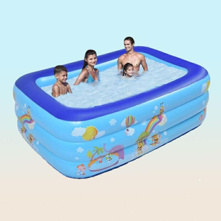 充氣游泳池家用加厚兒童充氣水池寶寶嬰兒游泳池兒童游泳池戲水池 摩可美家