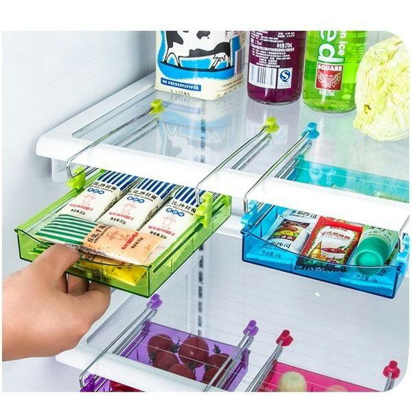 BO雜貨【SV6323】韓版 冰箱抽拉式收納箱收納盒 抽動式多用收納盒 置物盒 桌面下多用收納架