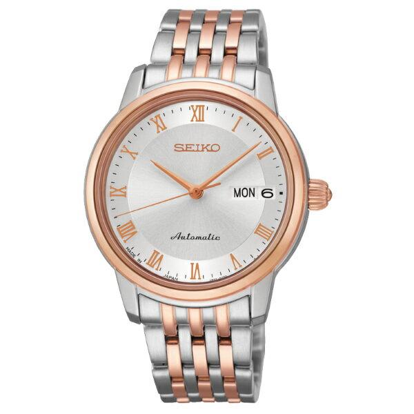 Seiko Presage 4R36-04F0KS(SRP882J1)雙色經典羅馬雙日曆機械腕錶/白面34mm