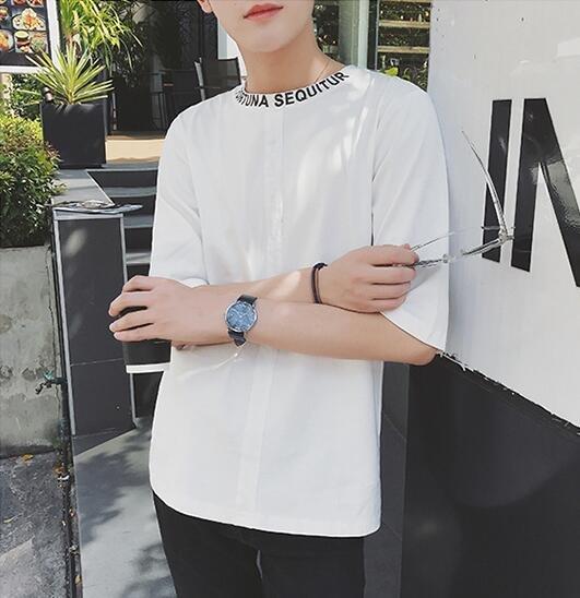 FINDSENSE 時尚潮流 男 圓領字母裝飾 寬鬆休閑 外搭上衣 中袖T恤 色短T