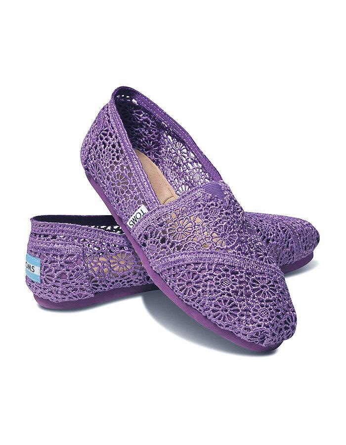 全店點數20倍│【TOMS】深紫色蕾絲鏤空繡花平底休閒鞋  Purple Crochet Women's Classics