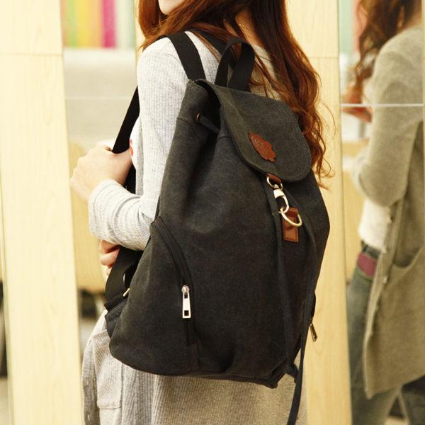 韓國面料帆布 弧形設計 束口環扣後背包(黑色) F65013.3 ◆ 雅韓時尚館