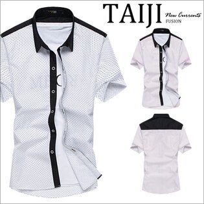 短袖襯衫【NTJBC490】英倫風格‧滿版點點色塊拼接立領短袖襯衫‧二色‧休閒西裝★