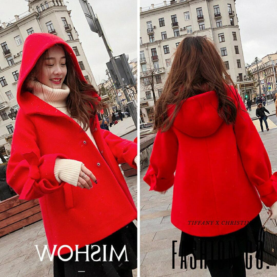 《預購款★全家199免運》Fashion Co.韓系短版紅斗篷外套 S~L [G0307]