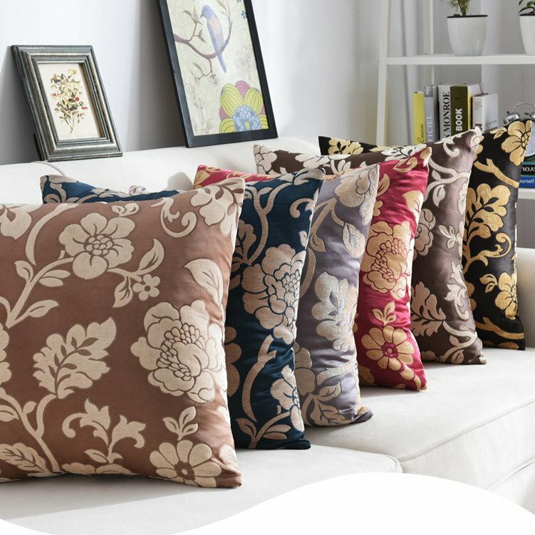 45*45 歐式復古風 居家抱枕套 沙發靠墊 花朵 靠枕
