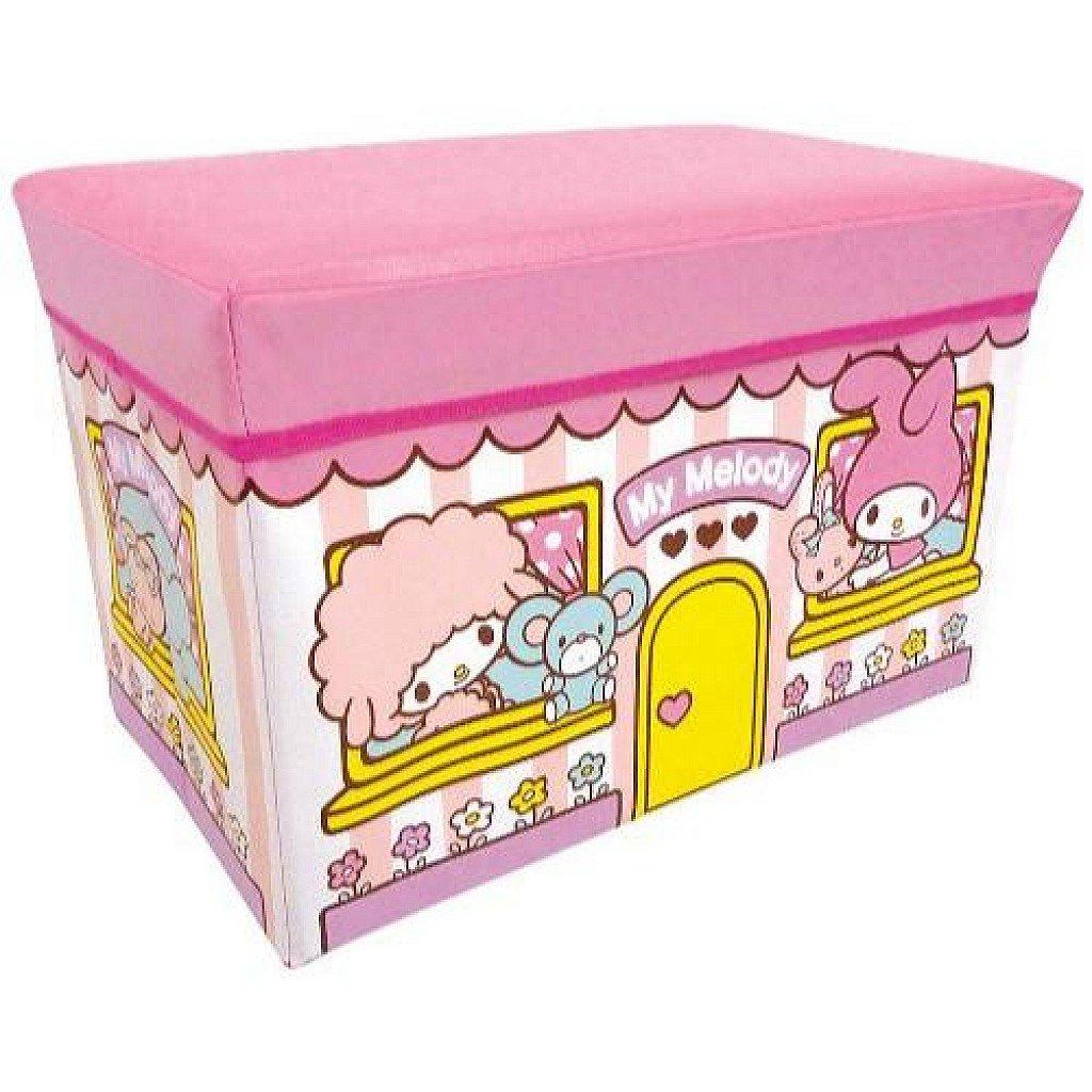 【真愛日本】18030900002 摺疊置物椅-MM窗戶粉 三麗鷗 melody 美樂蒂 摺疊收納箱椅 儲物椅