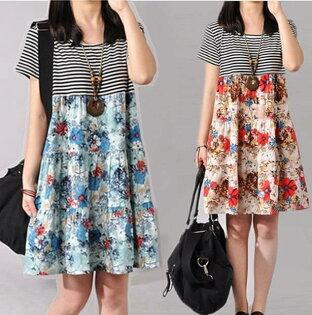 韓風新時尚夏季新款休閒時尚寬鬆花色拼接棉麻連身裙  洋裝   M~2XL  現貨+預購  韓風衣舍