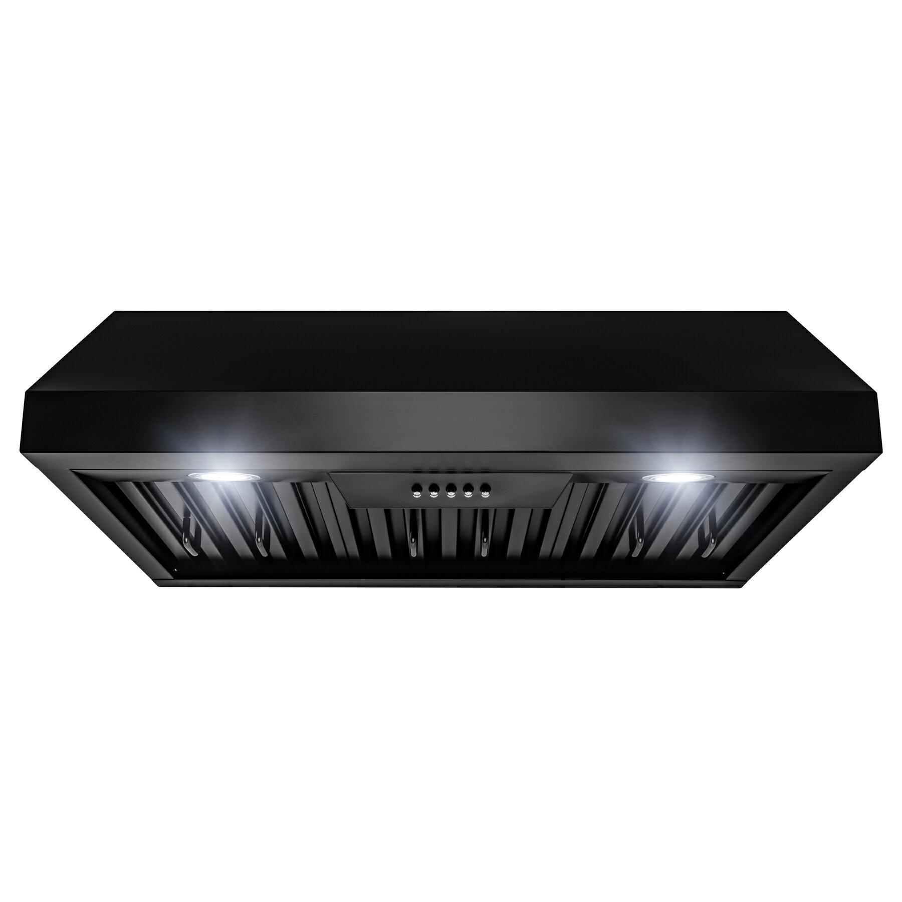 "AKDY European Style Range Hood – Stainless Steel 30"" Hood Filter – Premium  Kitchen Exhaust Fan – Under Cabinet Range Hood – Matte Black Painted Finish  ..."