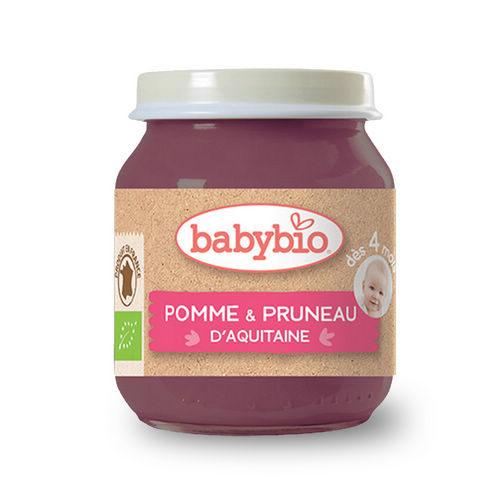 法國倍優Babybio有機蘋果黑棗鮮果泥4m+有機副食品鮮果泥
