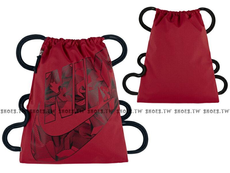 Shoestw【BA5351-658】NIKE MISC 束口袋 側拉鍊 鞋袋 輕便袋 紅黑 大字款