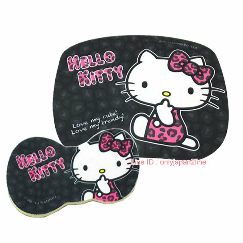 【真愛日本】17012100003高彈性子母型滑鼠墊-KT豹紋黑 三麗鷗 Kitty 凱蒂貓 電腦週邊用品