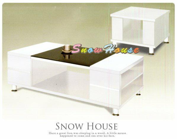 ╭☆雪之屋居家生活館☆╯AA443-02 508喜樂白色大茶几(全木芯板/8mm強化黑玻璃)/收納櫃/置物櫃/寬130