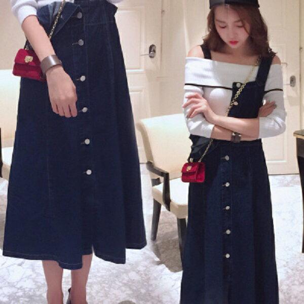 PS Mall 復古牛仔吊帶裙 牛仔裙 裙子 連衣裙~T085~ ~  好康折扣