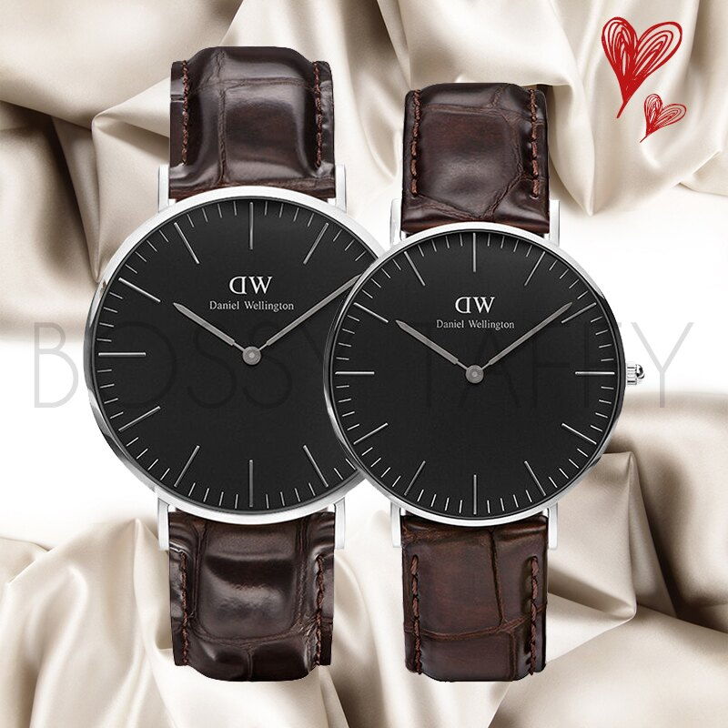 DanielWellington Classic Black 深咖啡色壓紋皮革對錶組 銀框 40mm36mm DW00100134 DW00100146