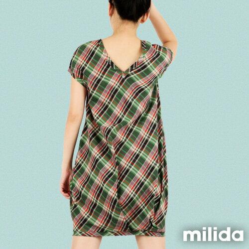 【Milida,全店七折免運】-夏季商品-拼貼款-氣質花苞版型洋裝 1