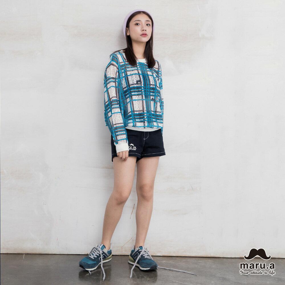 【maru.a】亮眼格紋配色微透視上衣(藍綠)7923112 5
