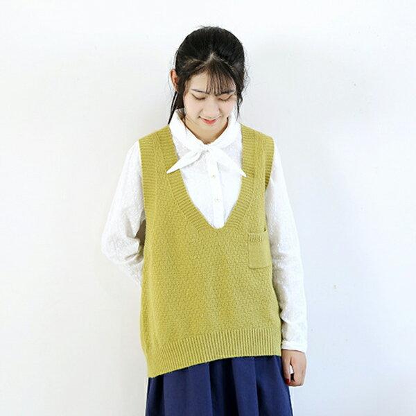 針織背心 學院風V領背心毛衣上衣  ~88~24~8315~0074~ibella 艾貝拉