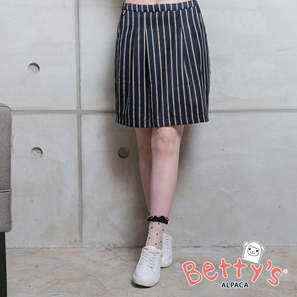 betty's貝蒂思金屬拉鍊直線條壓褶短裙(深藍) ► 618天天領券現折120