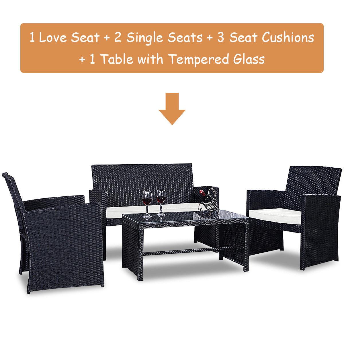 Costway 4 Pc Rattan Patio Furniture Set Garden Lawn Sofa Wicker Cushioned Seat Black 6