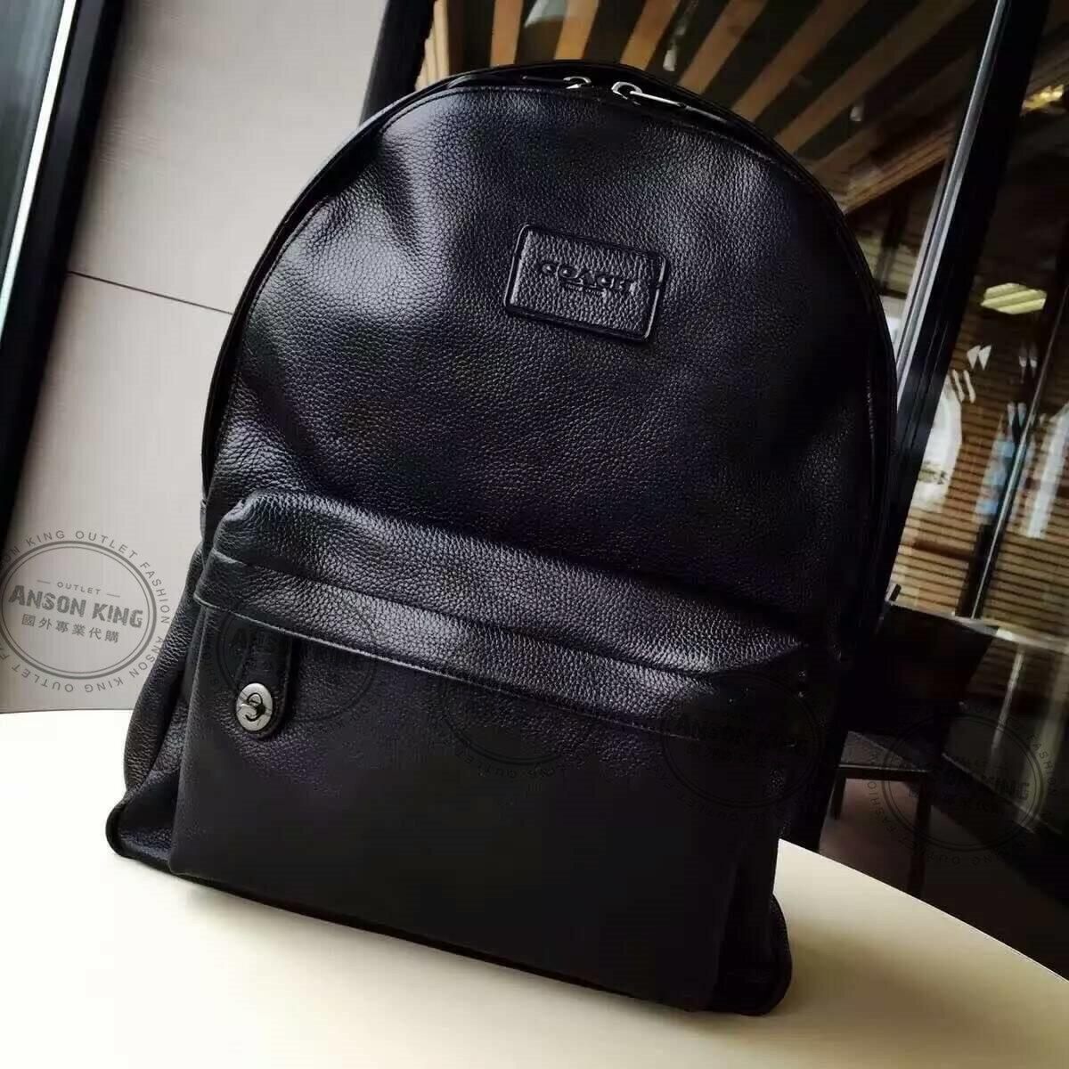 美國Outlet代購 Coach 全新正品 F71622 荔枝皮壓紋純色後背包 黑色 雙肩包 書包 上班包
