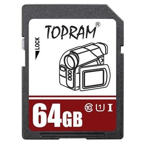 TOPRAM 64GB 64G SD SDHC SDXC Secure Digital Extended Capacity Card UHS-1 Class 10 0