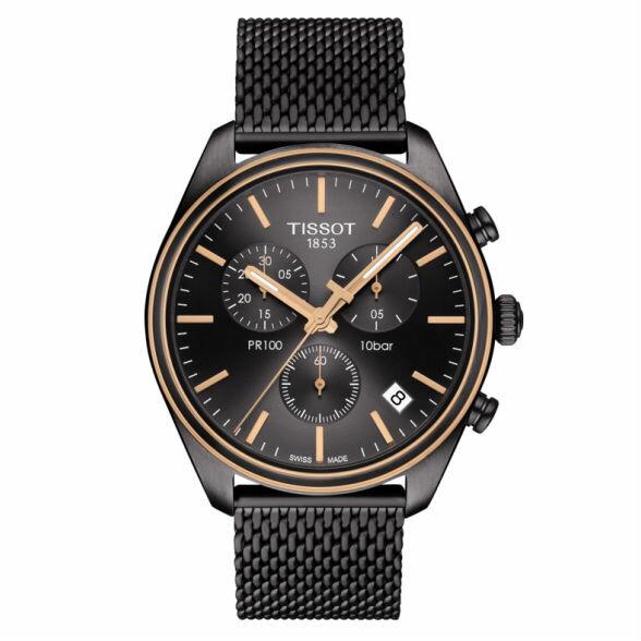 TISSOT天梭T1014172306100PR100三眼經典機械石英腕錶-皮帶款玫瑰金黑41mm