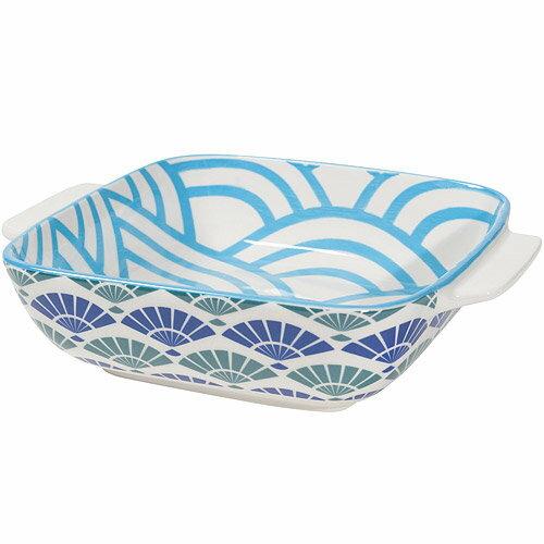 《NOW》圖騰方型深餐盤(摺扇藍20cm)