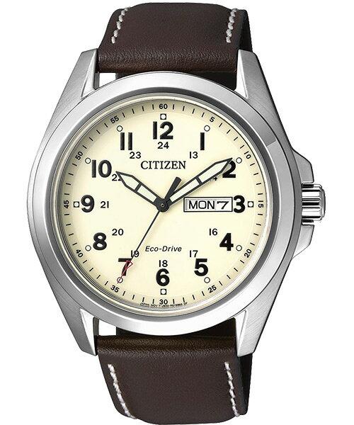 CITIZEN星辰AW0050~15A雙日曆 光動能腕錶 米面43mm