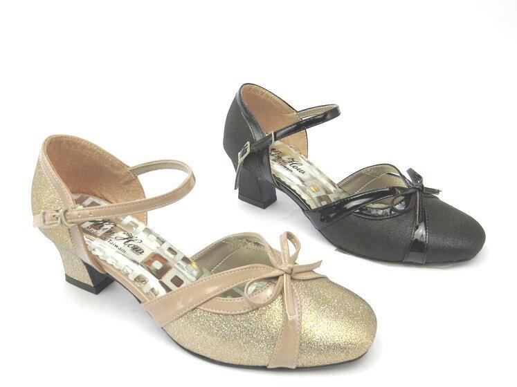 *高跟鞋* 簡約舒適繞踝高跟圓頭包鞋18-917(黑/金)☆【彩虹屋】☆現+預