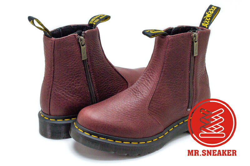 ☆Mr.Sneaker☆ Dr.Martens 切爾西 2976 W/ZIP GRIZZLY RED 櫻桃紅 酒紅 女鞋