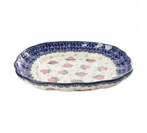 【預購】Polish Pottery波蘭陶- 可愛24CM可愛花邊方形大盤-清新玫瑰花 1