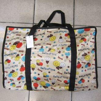 ~雪黛屋~Better 旅行袋簡易型旅行袋防水尼龍布材質可壓扁收納不占空間可手提可肩背 #001 微笑卡其