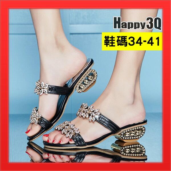 水鑽低跟女鞋涼鞋加大尺碼41女鞋40拖鞋粗跟-金銀黑34-41【AAA4690】