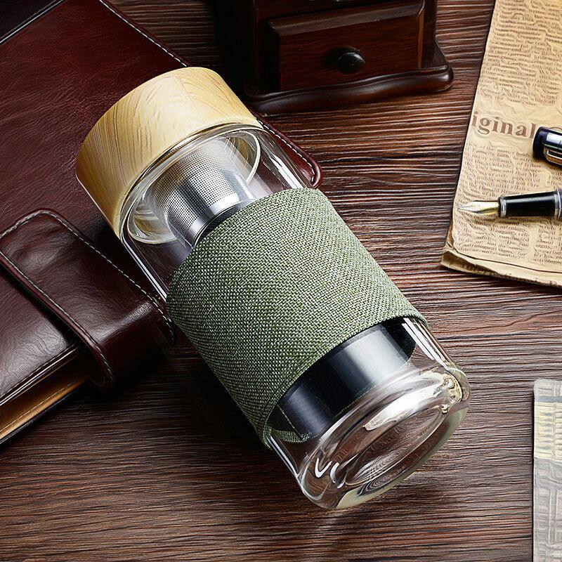 KAXIFEI 日式濾茶耐熱玻璃杯 400ml 耐熱玻璃 304不銹鋼茶漏 高硼矽玻璃耐高溫抗酸鹼