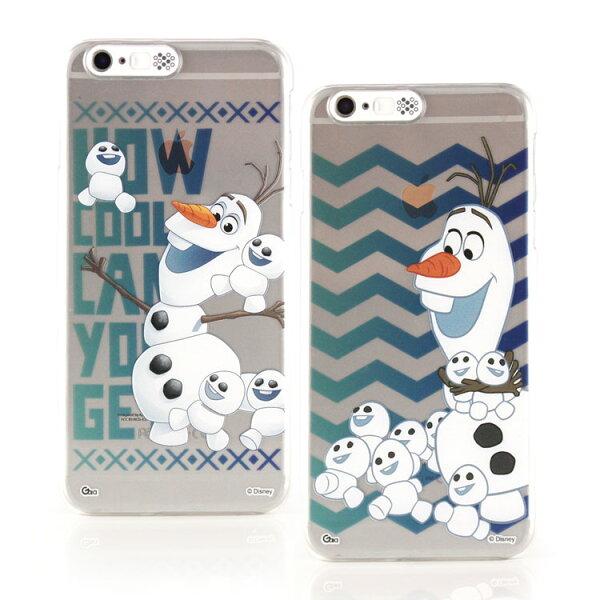 【Disney】iPhone6Plus6sPlus冰雪奇緣來電發光透明保護硬殼-雪寶