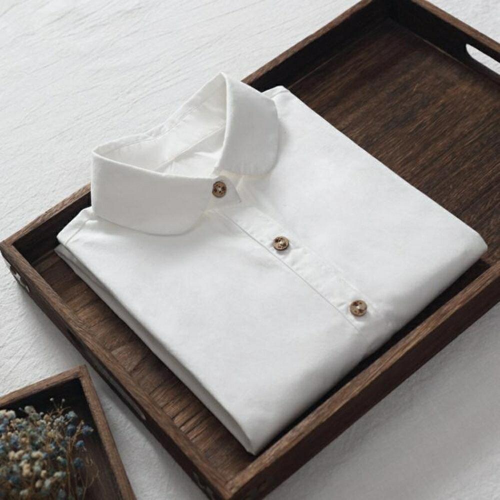 圓領外穿白襯衫女裝純棉長袖百搭修身打底衫內搭襯衣簡約文藝 錢夫人小鋪