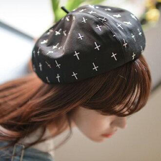 貝雷帽 十字架印花畫家帽甜美貝雷帽【QI1825】 BOBI 04/21