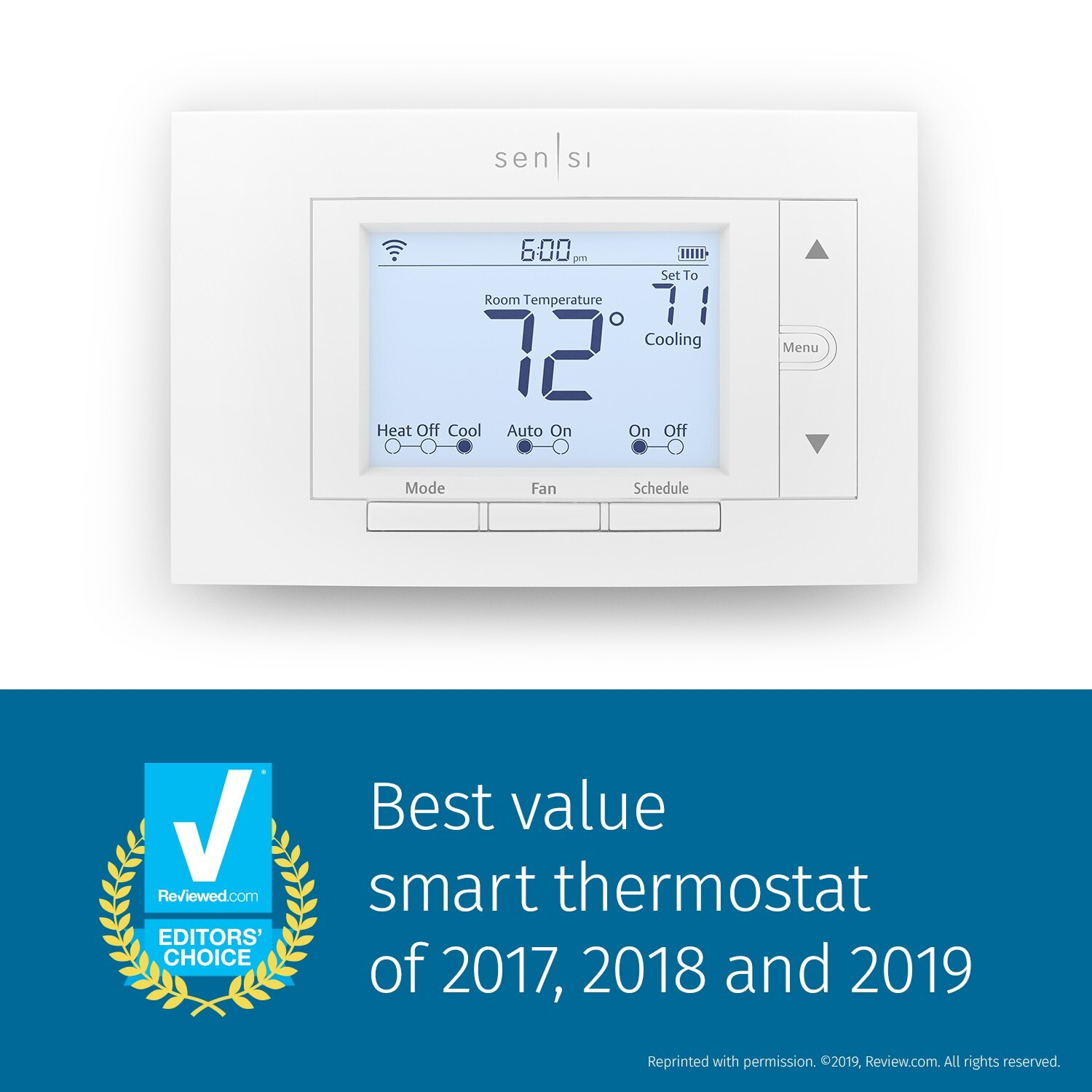 Emerson Sensi Wi-Fi Smart Thermostat, Energy Star Certified