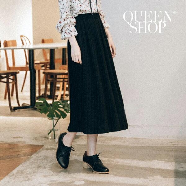 QueenShop【03020397】素色雪紡百褶長裙兩色售*預購*